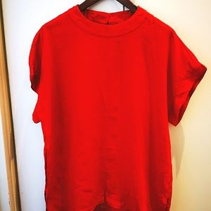 Sussan Red Blouse women's size 14 short sleeve with silver tailor button closure